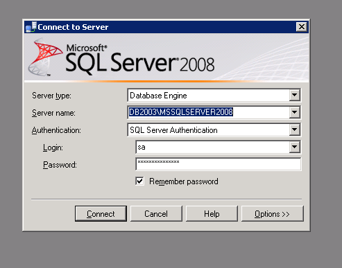 SQL Server Management Studio login window